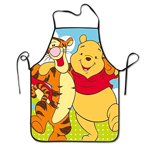 N\A Pooh y Tigger Delantales para Barbacoa para cocinar y Hornear Babero de Cocina Unisex para cocinar jardinería, tamaño Adulto