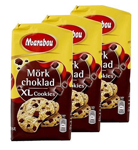Marabou Cookies Zartbitter 184 g / XL Cookies Mörk choklad / Kekse mit mit Splittern von dunkler Schokolade, 3 er Pack, ( 3 x 184g )