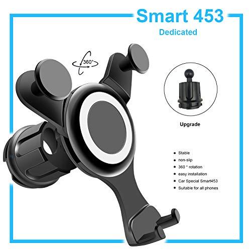 OYEFLY Mobile Phone Holder Compatible with Smart Model 453 Forfour Fortwo   Universal Holder for Smartphone, GPS & Tablet   360 Adjustable for Optimum Visibility   Car Phone Holder (Black) (Black)