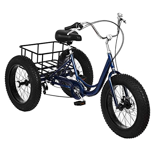 Adult Tricycles, 7 Speed Adult Trikes 20 inch 3 Wheel Bikes with Big Basket for Shopping, Entertainment, Picnics, Workout Men's Women's Cruiser Bike.[Stock in U.S] (Blue)