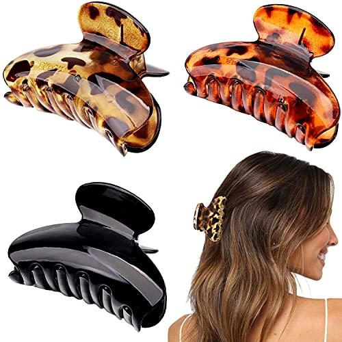 3pcs Pinces à Cheveux Pour Femmes Filles Pinces à Cheveux Antidérapantes Pince à Griffes Cheveux Écaille de Tortue Pince Cheveux Crabe Leopard 3 Couleurs (Style A)