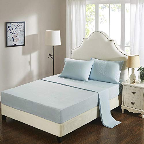 GTWOZNB Bed Sheets, Ultra Soft Silky Smooth and Wrinkle-Resistant Pure color brushed mat-8-light blue_137*190cm
