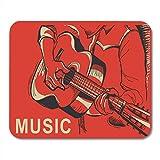 N\A Alfombrilla de ratón músico acústico Rojo Tocando la Guitarra música Hombre de la Mano Dibujado Alfombrilla para portátiles, Computadoras de Escritorio Alfombrillas de ratón