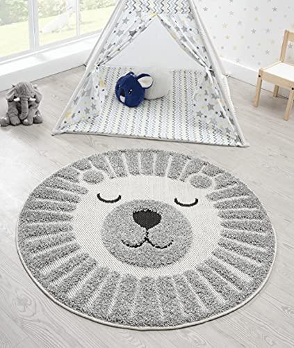 the carpet Lou Weicher Kuscheliger Kinderteppich, Weicher Kuschel-Flor, Pflegeleicht, Farbecht, Outdoor, 3D Optik, Löwen Motiv, Grau, 120 cm Rund