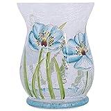 Large Soft Sea Blue Floral Crackled Hurricane 6 x 8 Glass Decorative Tabletop Vase