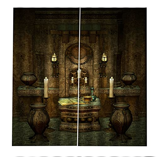 FACWAWF Cortinas Ecológicas para El Hogar Y El Dormitorio con Estampado Nostálgico De Imágenes Antiguas Impresas En 3D.2x43x84Inch/2x110x215cm