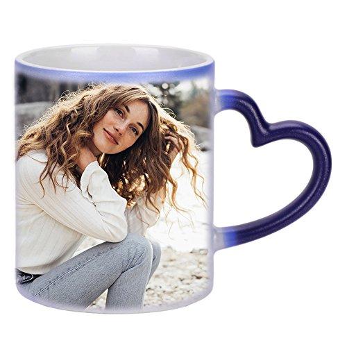 Tasse Personnalisé avec Photo Image Mug à Café de Chaleur Réactive Coupe à thé en Ceramique avec Cuillère Magique Tasse de Changeante de Couleur Cadeau Souvenir d'anniversaire Noël Saint Valentin