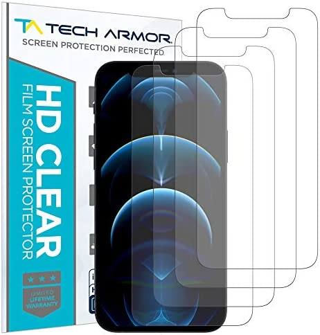 Tech Armor HD Clear Plastic Film Screen Protector NOT Glass for Apple New iPhone 12 Pro Max product image