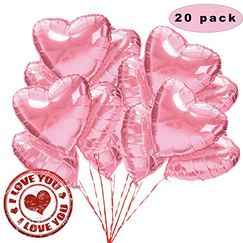Sunshine smile 20 STK 18 Zoll Pink Herz Folienballon,Herz Helium Luftballons,Folienballon Hochzeit ,Folienluftballon,Herz Ballons (Pink)