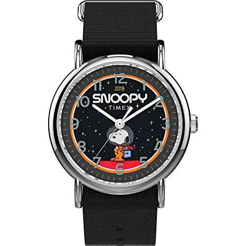 Timex Unisex TW2T82700 Weekender Peanuts NASA Black Nylon Fabric Slip-Thru Strap Watch