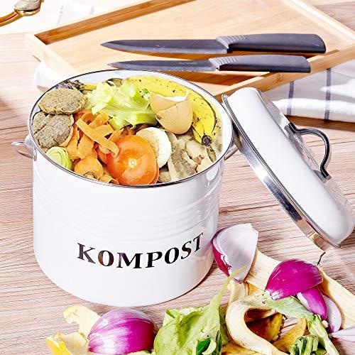 Wolltoll Komposteimer mit Deckel, 5 l Fassungsvermögen, Vintage-Kücheneimer mit Deckel, für den Innenbereich, Kohlefiltereimer, Müllbehälter, Recycling-Caddy