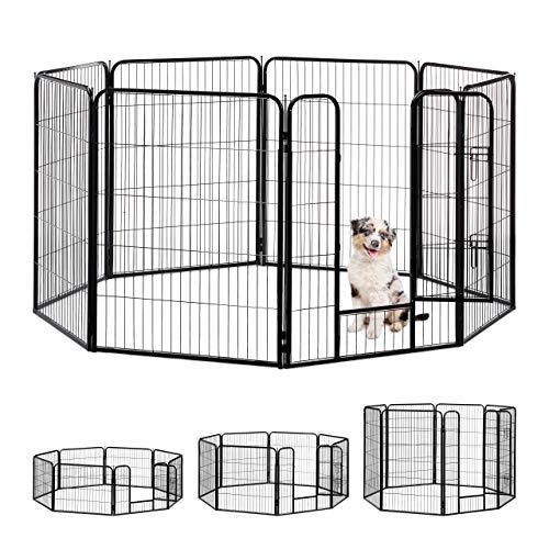 Relaxdays Welpenauslauf, kleine Hunde, Welpen, Kleintiere, Innen, Außen, Laufstall HxBxT: 100 x 76,5 x 235 cm, schwarz