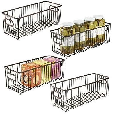 """mDesign Metal Kitchen Pantry Food Storage Basket Bin, 16"""" Long from"""