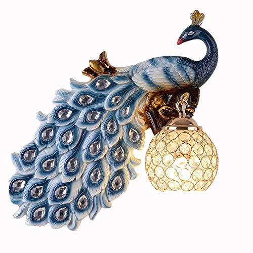 Kreative Pfau Wandleuchten Vintage Europäischer Stil Dekorative Wandlampe LED Innen Harz Wandbeleuchtung mit Kristall Lampenschirm Geeignet zum Wohnzimmer Schlafzimmer Bar Restaurant 5W E27 Blau