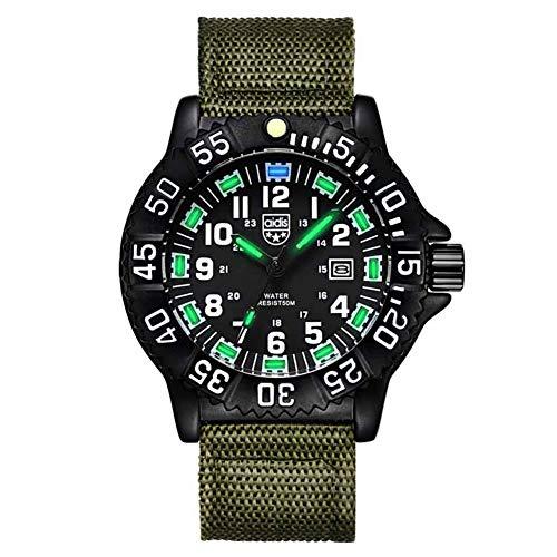 Wan&ya Reloj analógico de Cuarzo para Hombre Correa de Nailon 50M Cronómetro Luminoso Resistente al Agua Brújula Dial Giratorio Reloj de Negocios Relojes Deportivos Militares Digitales,Green a