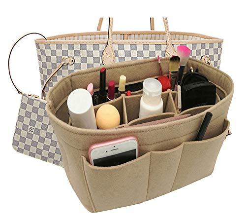 Felt Fabric Purse Tote Diaper Bag Organizer Insert Bag in Bag with Zipper Inner Pocket For Neverfull Speedy