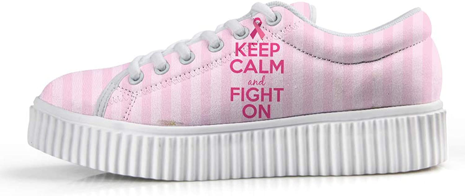 Platform Lace up Sneaker Casual Chunky Walking shoes Low Top Women Breast Cancer Awareness Keep Calm and Fight On