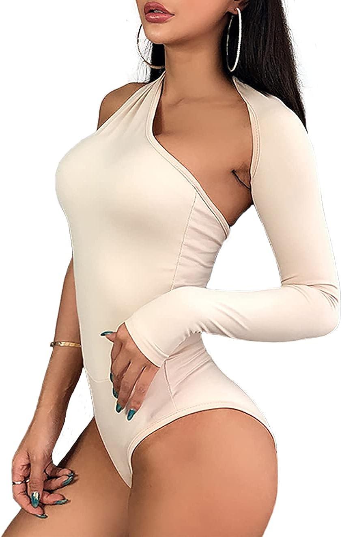 WAYMODE Women's One Shoulder Cut Out Long Sleeve Backless Leotard Bodysuit Tops