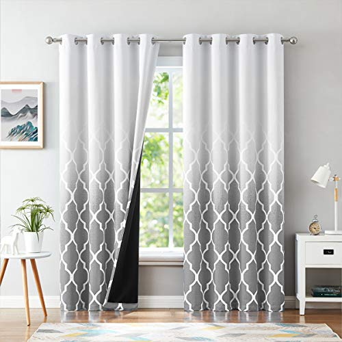 Metro Parlor Grey Ombre Blackout Window Curtains 95 Inches Long for Bedroom Living Room, Moroccan Pattern Gradient Print Drapes 52' W 2 Panel Sets, Linen Textured Grommet Top Window Treatments