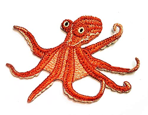 Nipitshop Patches Brown Squid sea Animal Patches Sticker Cartoon Kids Design Badges Iron On Sewing Kids Clothing Hat Shoes