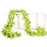 Guirnalda de hiedra artificial con flores 4 piezas de guirnaldas de flores amarillas para decoración de exteriores, guirnalda de follaje colgante falso para bodas, decoración de paredes, pasillos