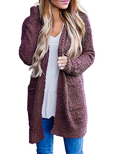 ZESICA Women's Casual Long Sleeve Open Front Soft Chunky Knit Sweater Cardigan Outerwear with Pockets Maroon