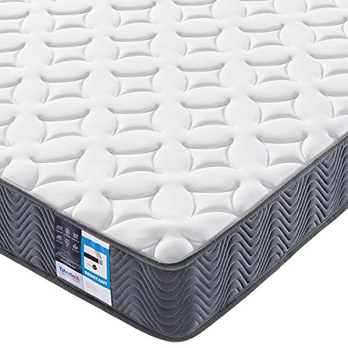 Yaheetech 3ft Pocket Spring Mattress for Single Bed 20cm Thick Medium Firmness Mattress with Hypoallergenic Knitted Fabric Safe for Adults,Vacuum Roll Packed,Grey