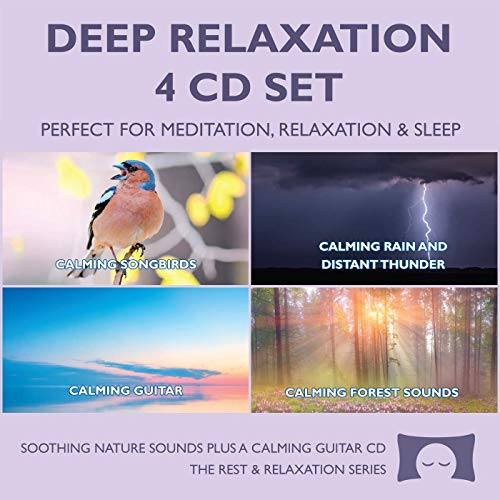 Deep Relaxation 4 CD Set - Soothing Nature Sounds CDs plus a Calming Guitar with Ocean Waves CD - for Meditation, Relaxation, Sleep, White Noise -
