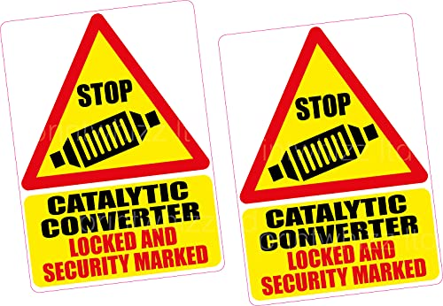 2 x Catalytic Converter Lock Security Mark Vinyl Sticker 100x70mm Hybrid...