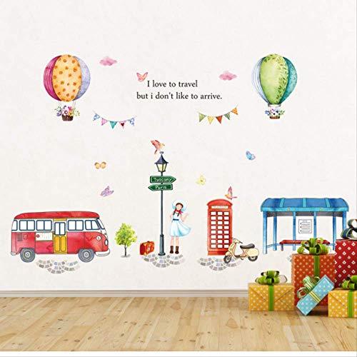 Muurstickers Ik hou van reizen Bus Hot Air Balloon Muurstickers Voor Slaapkamer Kids Kamer Milieuvriendelijk Zelfklevende Art Mural