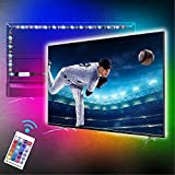 TV LED Backlights, 3.3ft/1M RGB LED Strip Lights for TV 32-50in, 5V USB Powered, RF Remote Control, 16 Colors and 4 Dynamic Modes, Bias Lighting for HDTV PC Monitor Gaming Decor