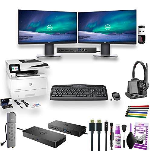 Full Home Office - Dual Dell Monitor Bundle - 2 Dell P2219H 22' Monitors W/Dell WD19 Dock -HP MFP M428FDW Wireless All-in-One Printer - Plantronics 8220 Headset - Keyboard and Mouse - and Much More