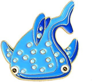 Thobu Cute Cartoon Dolphin Shark Whale Fish Enamel Brooch Pin Badge Collar Coat Decor E
