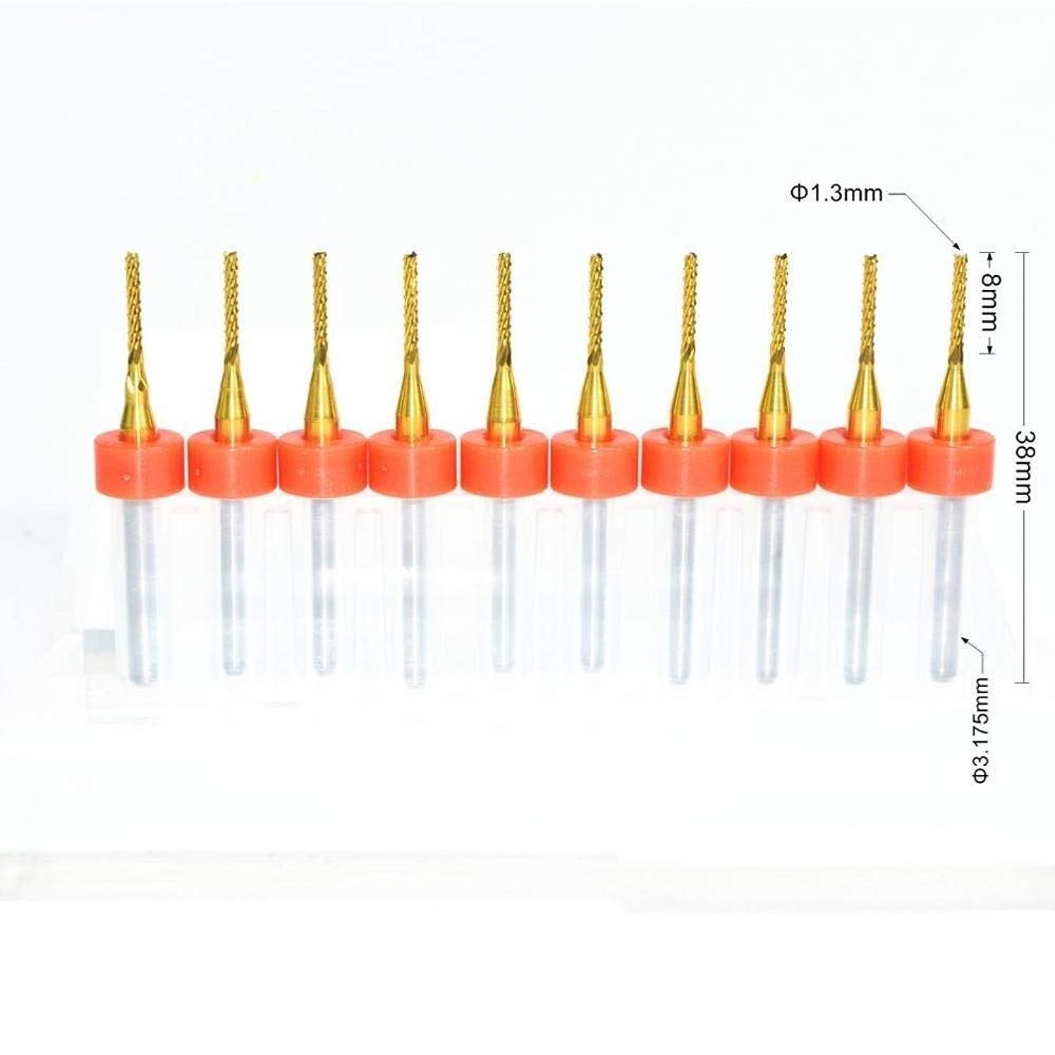 ツイントーナメントそれによってYIRANLT 3.175ミリメートル* 1.3ミリメートル、10個入り、コーティングエンドミルカッター、マシンコーンフライスビット、超硬ソリッド工具、PVC、木材 (Size : 3.175mm*1.3mm)