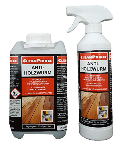 Anti Holzwurm 2,5 Liter Holzwurmspray Holzwurmmittel innen Holzwurmex gegen holzschädigende Insekten Holzfliegen