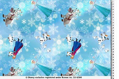 PWSE Baumwoll Jersey Stoff Frozen Anna & ELSA Digital Druck ab 0,5 m Verschiedene Ausführung (hellblau Eisblumen)
