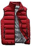 Kondun ダウンベスト メンズ 中綿ベスト 立ち襟 無地 防寒 秋冬春用 ジャケット ベスト 10色7サイズ展開 MJ1718(Red,4XL)