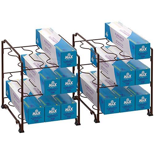 3-Tier Kitchen Wrap Organizer Rack,Stackable Kitchen Cabinet and Counter Shelf Organizer for Food Wrap, Foil, Wax Parchment Paper (2 PACK,Bronze) …