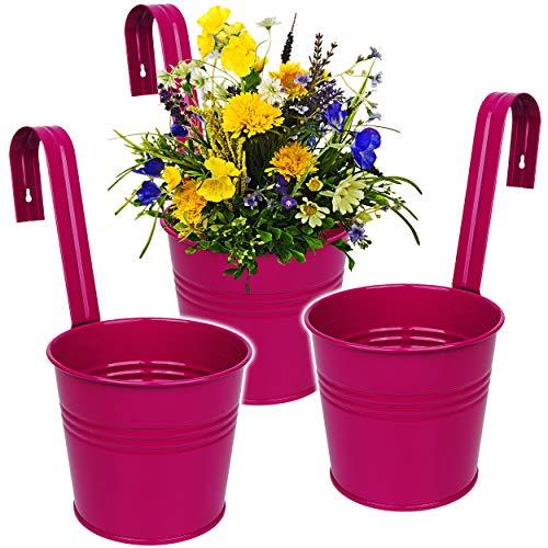 alles-meine.de GmbH 3 Stück _ Hänge - Blumentöpfe / Hängetöpfe / Pflanzschale - Metall - pink / Purpur / violett / rosa - lila - Ø 17 cm - RUND - Hängend / mit Haken & Halterung ..