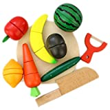 DMZK Frutas y Verduras Juguete para Cortar con iman, Juego de Alimentos Madera para niños
