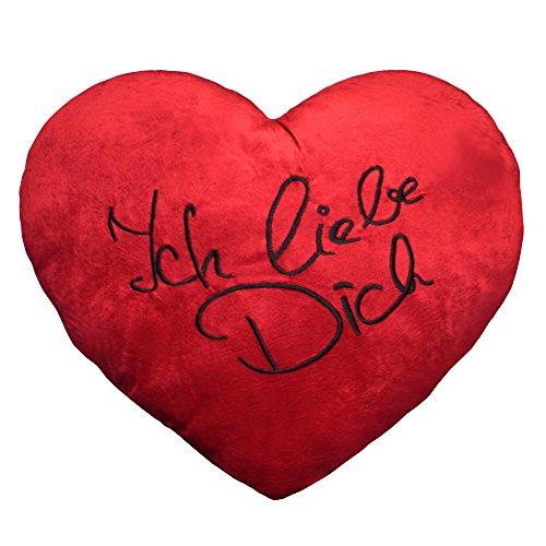 Plüschkissen extra groß ca. 60 cm rotes Herz Kissen incl. Füllung bestickt mit