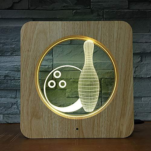 Bowling Spiellampe ABS 3D LED Tischlampe DIY Lampe Nachtlicht Kinderfarben Kinder Geschenk Wohnkultur 1592