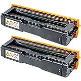 Adatto per cartucce per stampanti RICOH SPC252DN SPC250DN SPC261DNW SPC261SFNW, con materiali di consumo a colori a chip 4, forniture per ufficio-Black*2