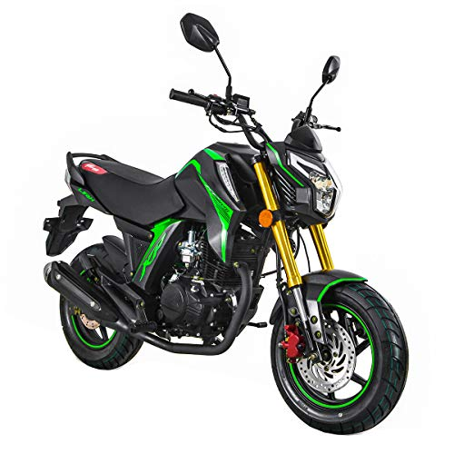 X-PRO KP Mini 150 Gas Motorcycle 150cc Adult Motorcycle Moped Scooter Street Motorcycle Bike Assembled Made by Lifan(Black/Green)