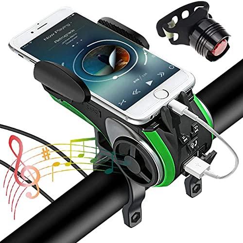 XINGDONG Luz de bicicleta con un conjunto de altavoces inalámbricos impermeables, 6 funciones vienen con bicicleta, soporte para teléfono, altavoz, banco de energía, tarjeta TF y luz intermitente adec