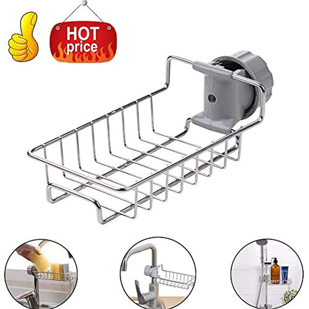 Kitchen Faucet Sink Caddy Sponge Holder, Stainless Steel Faucet Storage Rack Hanging, Shelf Soap Sponge Storage Rack, Holder Faucet Sponge Hanging - Fix Around Faucet