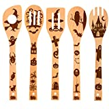 HANSGO Nightmare Wooden Spoons, Halloween Decor Kitchen Great Utensil Set Fun Gift Idea Serving Utensils Burned Bamboo Spoons Kitchen House Warming Present Slotted Spoon, 5 Pieces