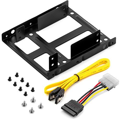 deleyCON Kit di Montaggio di 2 HDD o SSD da 2,5  su Alloggiamento da 3,5  Viti Incluse con Cavo SATA e Alimentatore