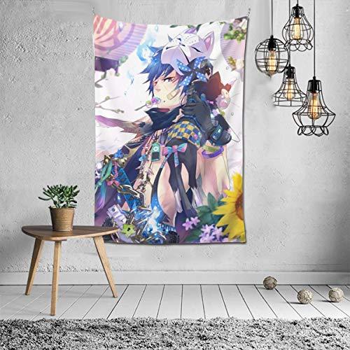 "JAIDEN BEATA Hot Anime Game Tapestry Wall Hanging Art Decor,Blue Exorcist Okumura Yukio Cat Mask Cartoon Wall Tapestry Bohemian Mandala Hippie Tapestry for Bedroom Living Room Dorm (40""X60"")"