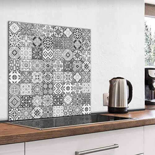 murando Spritzschutz Glas für Küche 60x60 cm Küchenrückwand Küchenspritzschutz Fliesenschutz Glasbild Dekoglas Küchenspiegel Glasrückwand Fliesen Mosaik - f-B-0288-aq-a